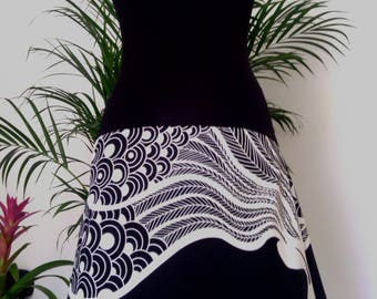 Jersey Black - White Peacock print cotton skirt/strapless dress
