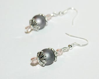 Joyful - gray and Pink Version earrings