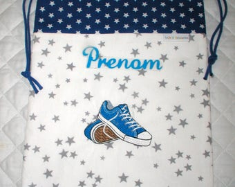 BAG embroidered with a pair of blue sneakers shoes