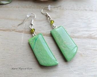 Drop Earrings green peacock