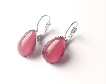 Pink Purple glass cabochon earrings