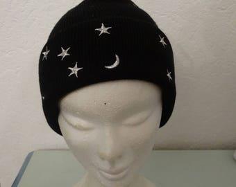 Wool Hat Black Stars