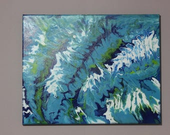 aquamarine abstract acrylic painting