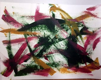 Abstract Acrylic on Paper (Red, Green, Yellow)