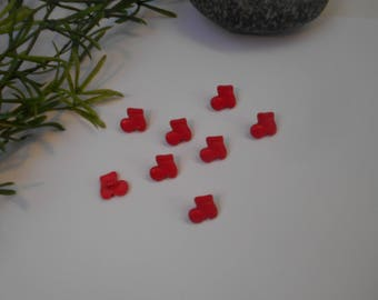 Red button boot 13mm - sold per 8 Santa