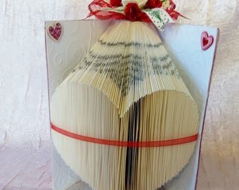 """Book heart or gift table centerpiece has give for Christmas """"handmade"""""""