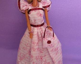 Long white dress has small pink flowers (B200)
