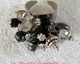 """Cluster"" Girl black unique Bohemian ring"