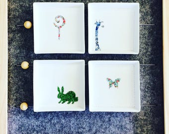 Lollipop, giraffe, butterfly floral ditsy trinket dishes ring dish