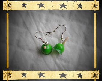 Lime Green apples mounted on silver plated earrings