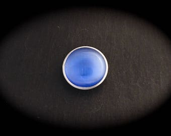 Cabochon pressure 18mm for jewelry - Blue Cat's eye
