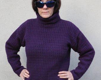 Turtleneck Sweater size 38-42 purple crochet
