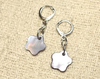 Flowers 15mm grey Pearl Earrings