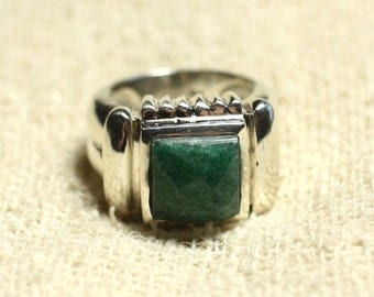 N123 - 925 sterling silver ring and stone - green Aventurine 10mm faceted square