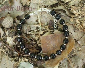 Bracelet 925 sterling silver and faceted Black Onyx