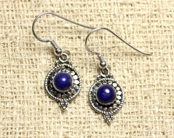 BO210 - circles 19mm Lapis Lazuli 925 Sterling Silver earrings