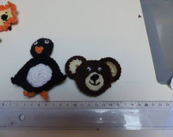 4 animals zoo crochet appliques