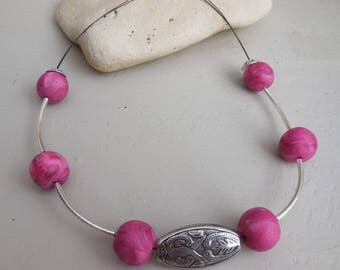 The Choker necklace pink polymer beads * silver charms