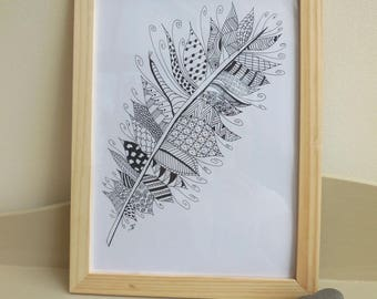 Poster illustration, zentangle - black and white feather