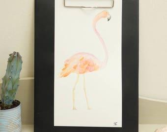 Original watercolor tropical style * Flamingo Pink
