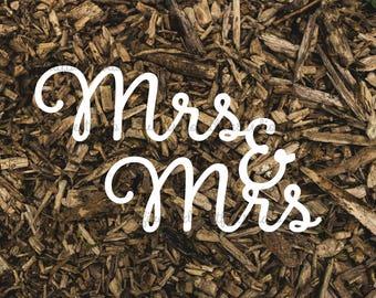 Mrs & Mrs Clipart Wedding Typography Wordart Greeting Sentiment Love Papercutting Download JPG PNG