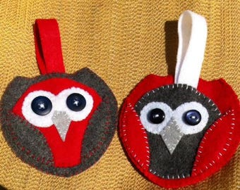 red and gray felt owl ornaments