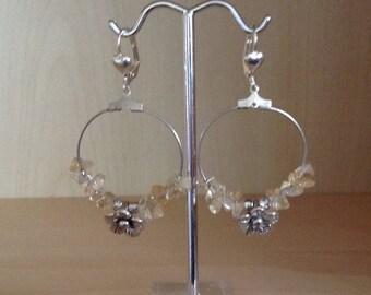 Citrine hoop + silver metal flower