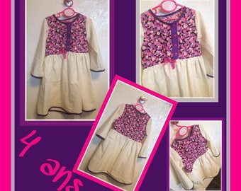 Long sleeve dress size 4t white violet purple and pink cotton