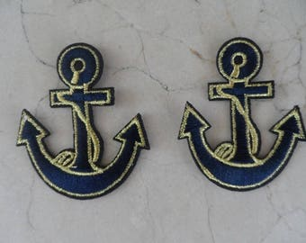 set of 2 appliques iron-on anchor 55 x 66 mm