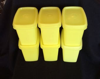 Vintage Yellow Tupperware stackable containers, Retro storage set, Space savers, wedding gift, TUPPERWARE, 1243 Set of 6, Bridal shower gift