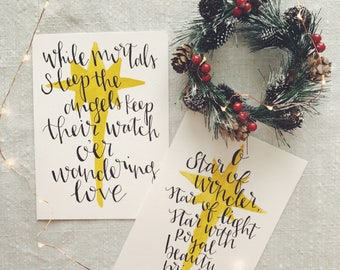Hand Lettered Print - Christmas Carols/Stars