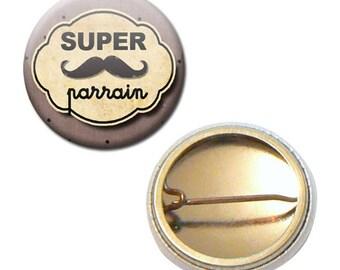 Great sponsor family Brown mustache gift Ø 25 mm badge
