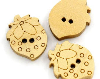 5 buttons natural wood strawberries - 16 x 13 mm - 2 holes