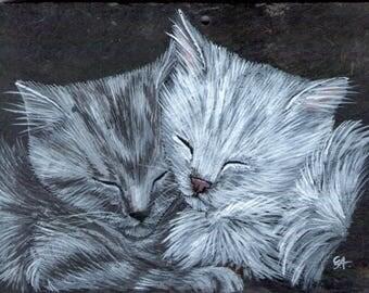 Cat acrylic painting on Slate