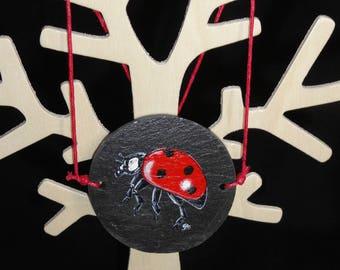 hand painted slate way thaumatrope pendant