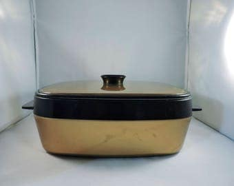 Mid-Century Gold and Black Square Serving Dish