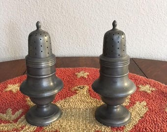 Old Pewter Salt and Pepper Shakers, Marked Holland in Rectangle