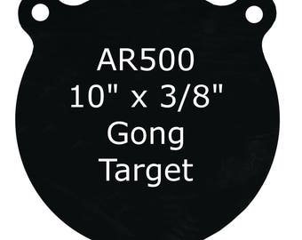 "10"" x 3/8"" AR500 Steel Shooting Targets Gong Style"