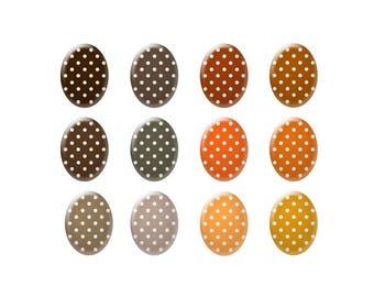 Digital bottle cap images - Brown and orange polka dot images - Ovals - Bottle cap jewelry patterns - Digital images