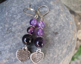 Hearts and purple agate earrings