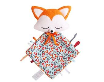 Plush Fox soft, square tags, birth gift