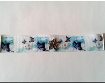 White Ribbon soared purple butterflies and Butterfly charm bracelet