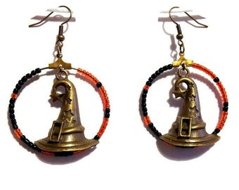 Witch hats and orange and black seed beads earrings