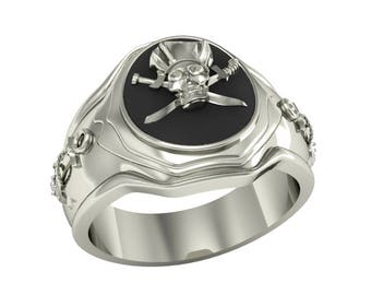 Jolly Roger Pirate Sea Anchor Men's Black Ring Sterling Silver 925 SKU700110