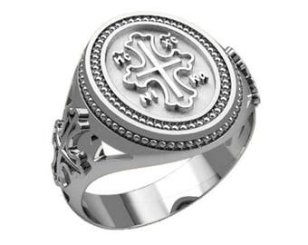 Cross Save and Protect Men Ring Sterling Solid Silver 925 SKU30308