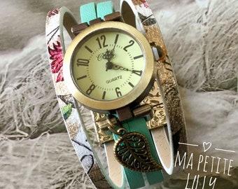 Wristwatch woman size small. Summer 2018 round bronze bracelet cuff light green