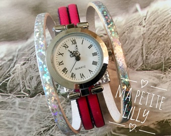 Watch cuff woman size.  Mr. Montre trend 2018. round silver-tone pink and silver