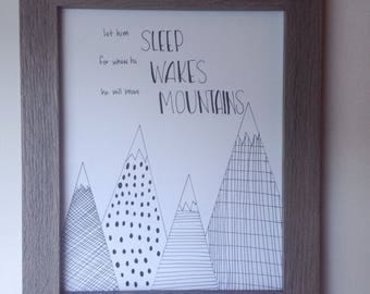 Move Mountains art Nursery print hand drawn illustration