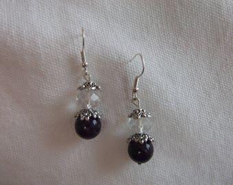 Deep Purple and clear crystal earrings