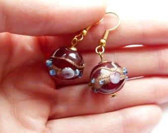 Venetian glass dangle earrings, Red Venetian glass dangle earrings, Murano glass earrings, Glass earrings, Handmade earrings
